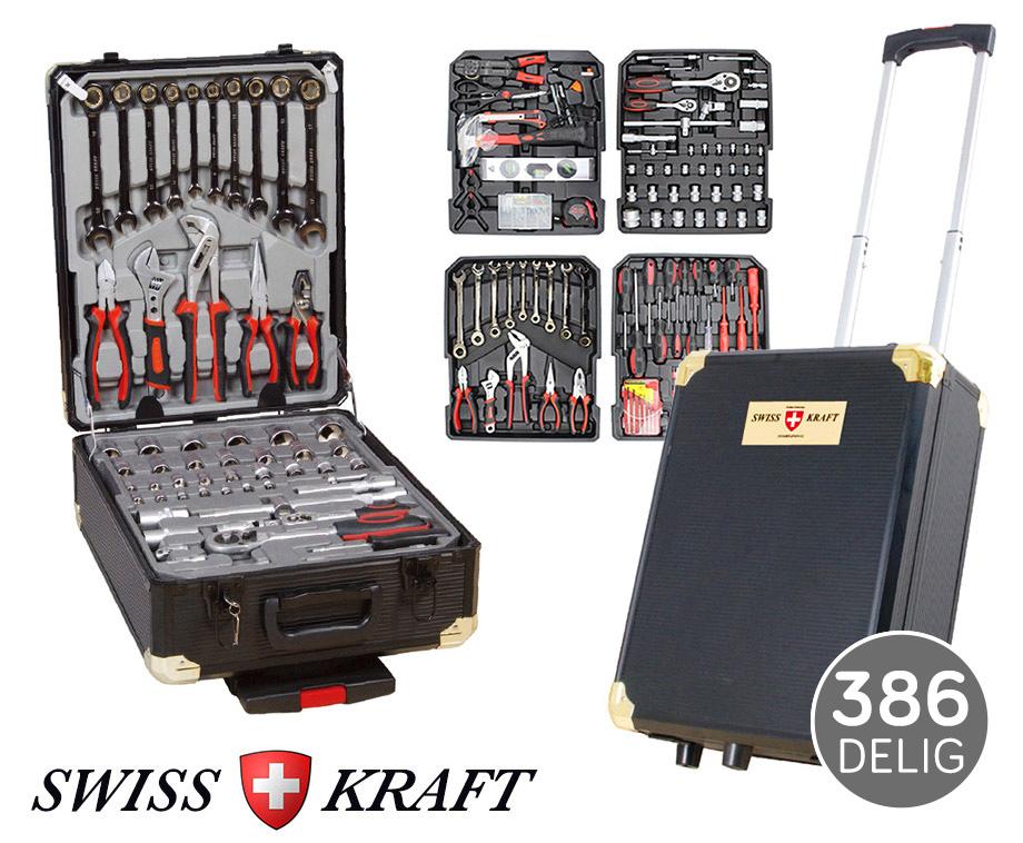 386-Delige Swiss Kraft Black Gold Gereedschapsstrolley - Vier...