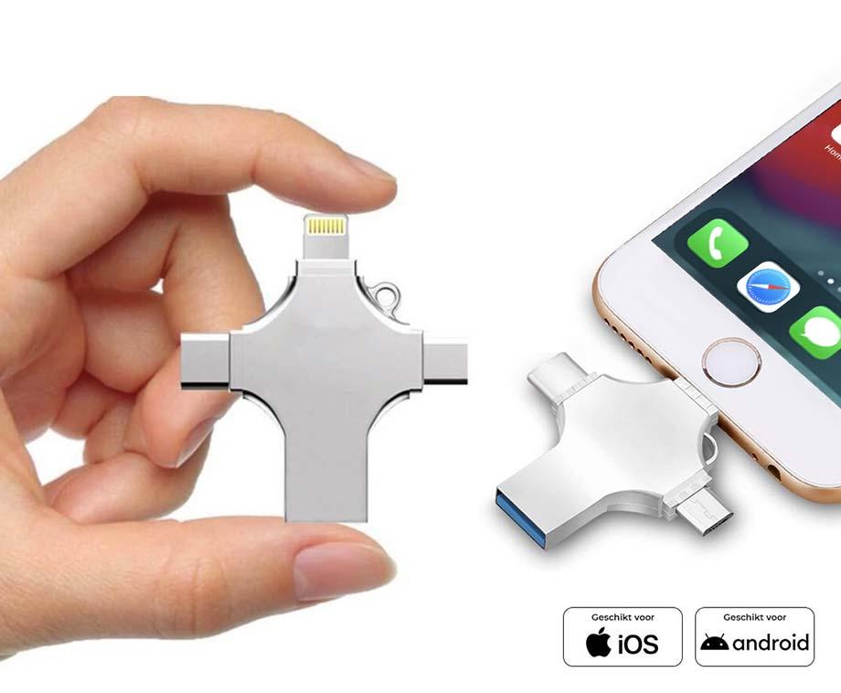 Foto 4-In-1 Multifunctionele Flash Drive - Opslag Voor Alle Telefoons,...