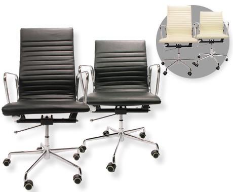 Bureaustoel Leer Wit.Design Bureaustoel In Zwart Of Wit Leer Keuze Tussen Hoge Of Lage