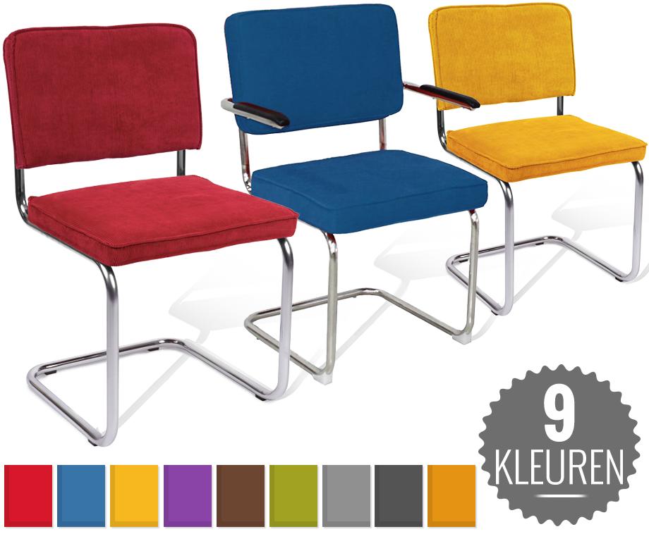 Design rib stoel met of zonder leuning verkrijgbaar in 9 for Verschillende kleuren eetkamerstoelen