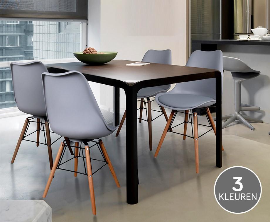 Luxe Design Eetkamerstoelen.Luxe Eetkamerstoelen Met Onderstel Van Hout En Metaal In 3 Kleuren