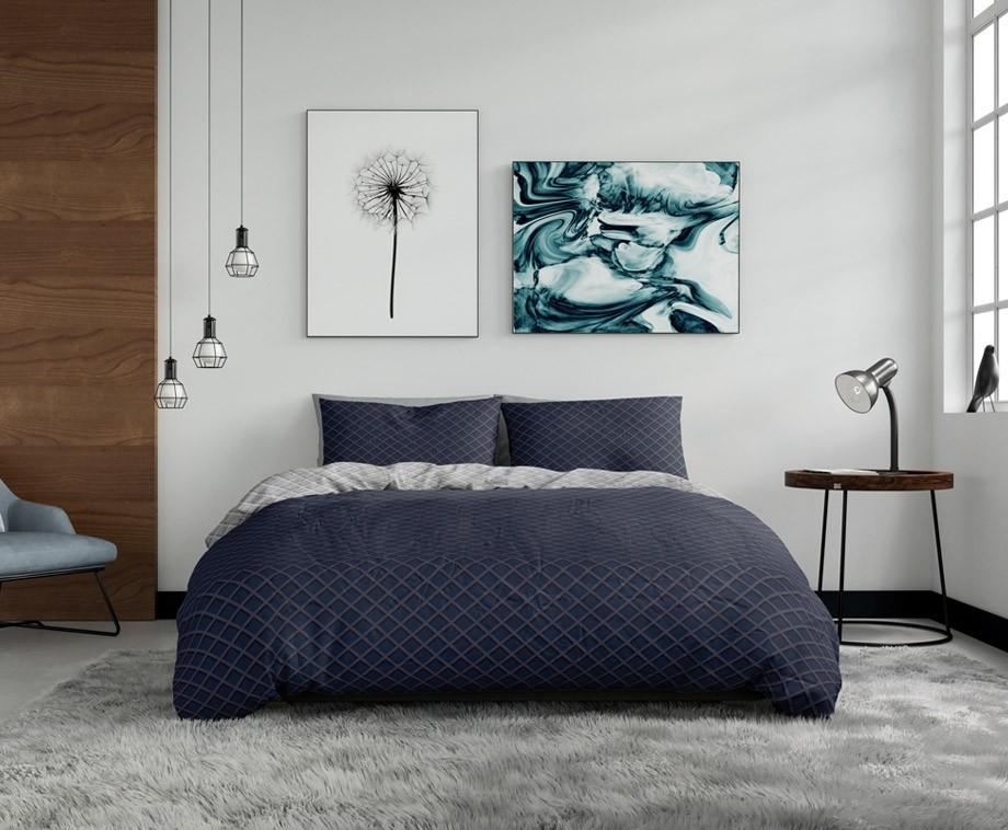 Wake up bedding dekbedovertrek waffle navy