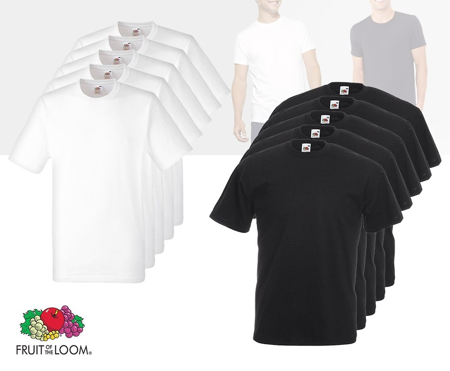 911fc8572589 12-Pack Heren T-Shirts Van Fruit of the Loom - Met V-Hals Of Ronde ...