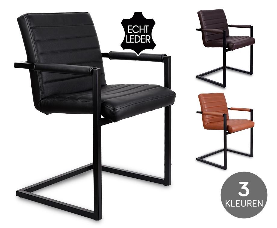 industriële conference stoel - bekleed met 100% echt buffelleder