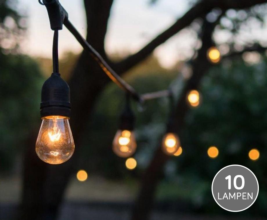 verlichtingssnoer voor buiten met 10 mooie warm wit led lampen