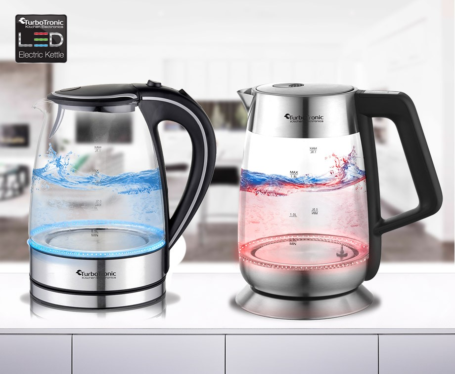 glazen waterkoker met led verlichting keuze uit 2 verschillende modellen