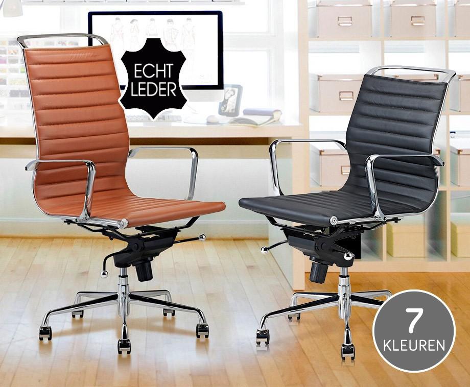 Luxe Leren Bureaustoel.Luxe Design Bureaustoelen Van 100 Rundleer Met Hoge Of Lage