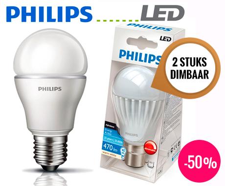 2x philips dimbare led lampen energiezuinig warm wit licht dagelijks topaanbiedingen. Black Bedroom Furniture Sets. Home Design Ideas