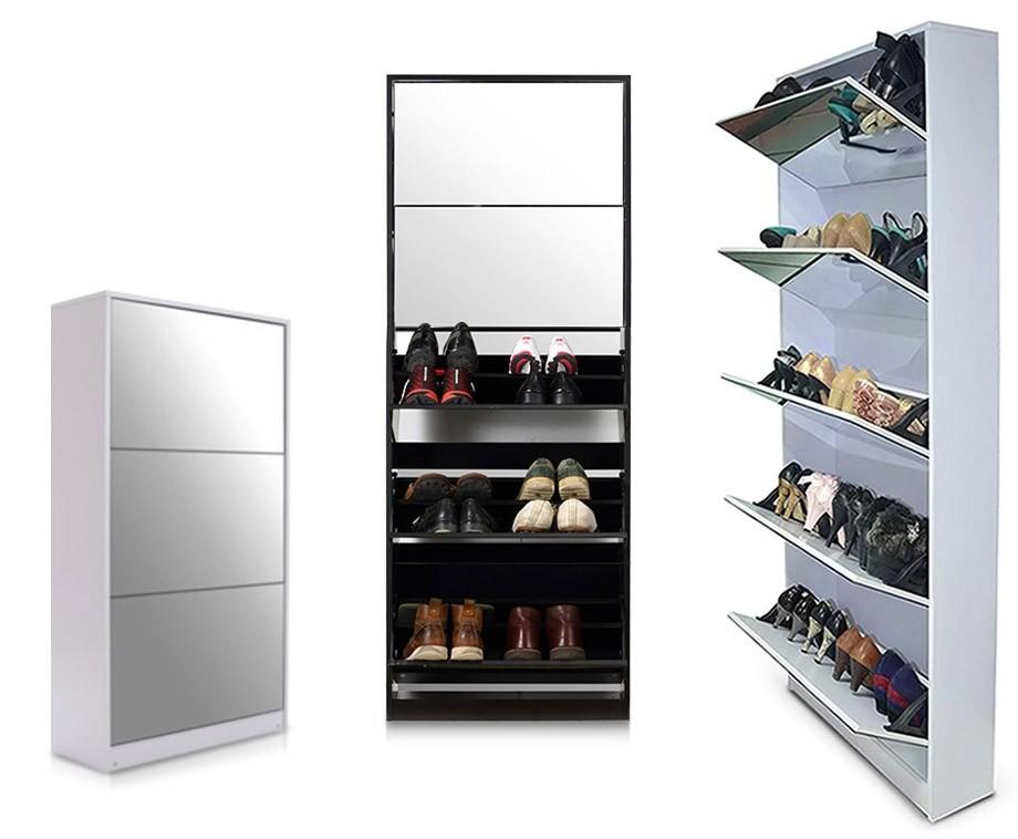 Schoenenkast Voor Heel Veel Schoenen.Schoenenkast Met Spiegel Verkrijgbaar In 2 Maten En 3 Kleuren