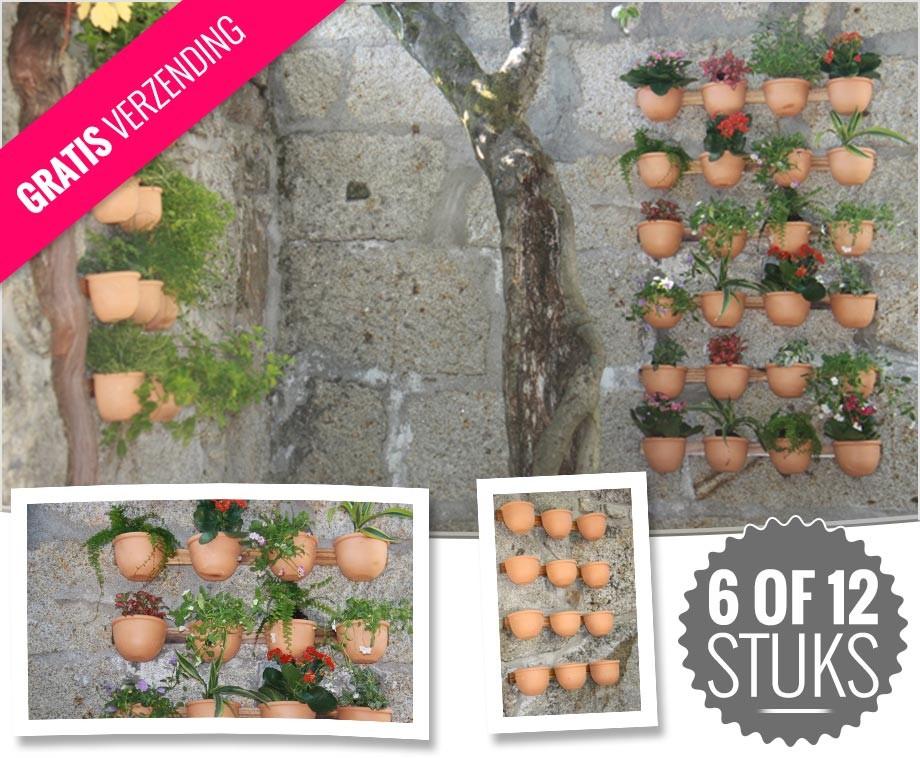 Handgemaakte wandpotjes voor een verticale tuin kies uit 6 of 12