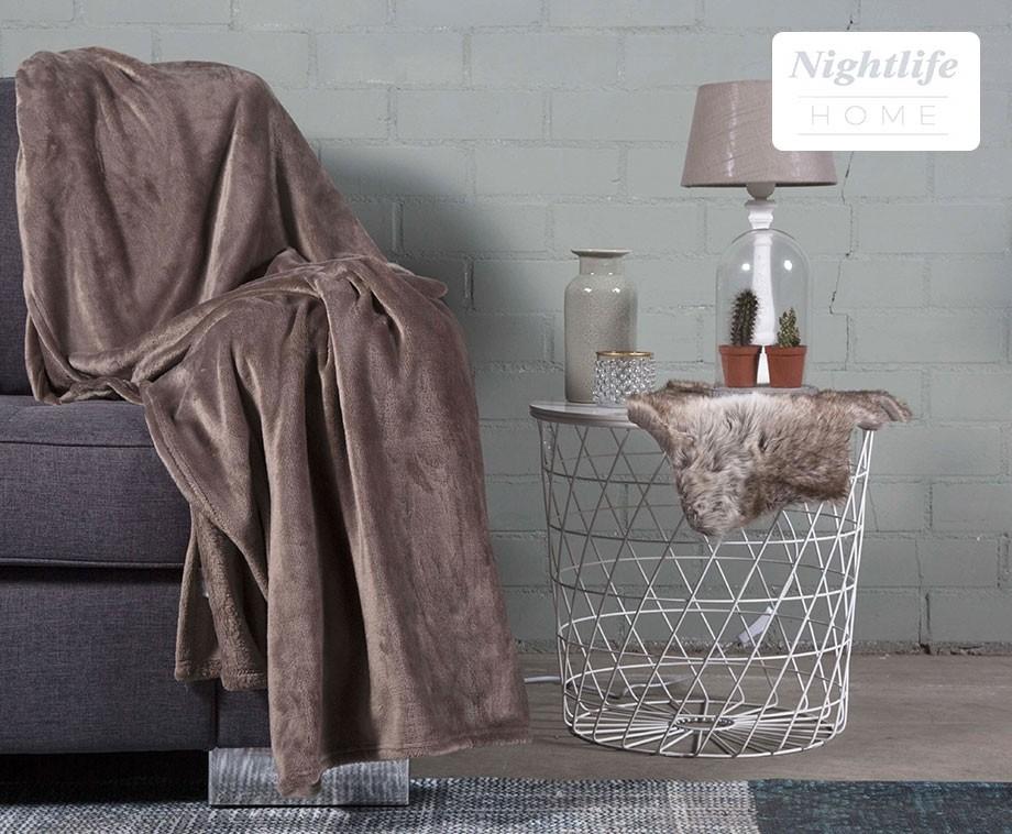 Nightlife luxe flanellen kussensloop of woondeken keuze uit