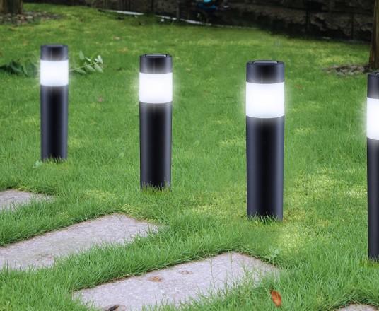 Set Van 4 Solar LED Tuinlampen - Met Zonnepaneel & Lichtsensor!