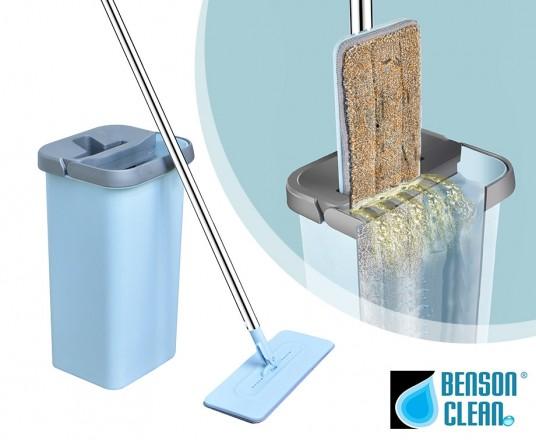 Benson Clean Flat Mop - Met Zelfreinigend Mechanisme!