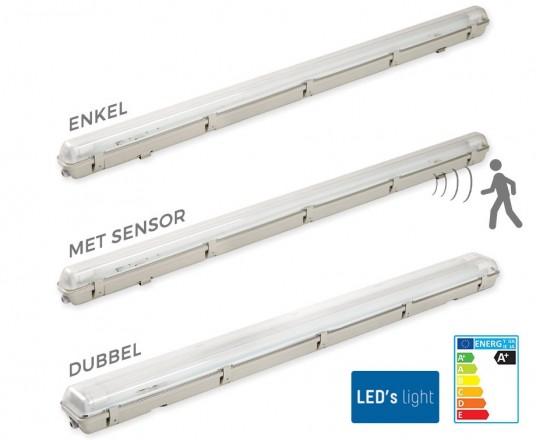LED Buis 120cm Inclusief Waterdicht Armatuur - Keuze Uit Enkel, Dubbel En Met Sensor!