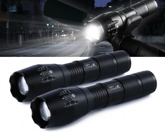 Set Van 2 Militaire LED Zaklampen - Inclusief Stuurhouder En Andere Accessoires!