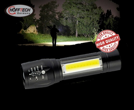 2-In-1 Oplaadbare Militaire Tactical Zaklamp - Met Extreem Felle COB LED\'s!