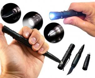 Tactical Pen / Verdedigingspen - Glasbreker, Zaklamp, Mes En Ballpen In Eén!