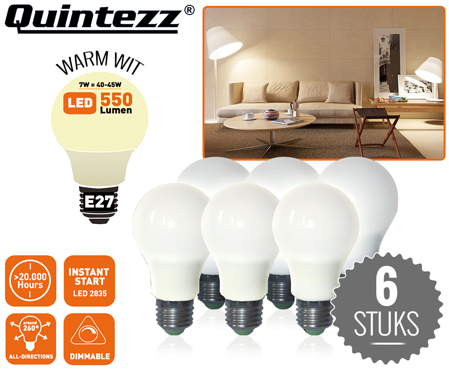set van 6 quintezz e27 7w led lampen milieuvriendelijk dimbaar en warm licht dagelijkse. Black Bedroom Furniture Sets. Home Design Ideas