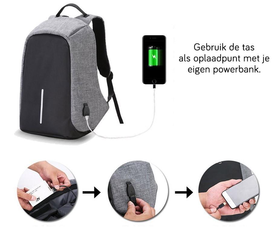 Anti Diefstal Tas Met USB Poort - Berg Laptop En Andere Accessoires Veilig En Overzichtelijk Op!