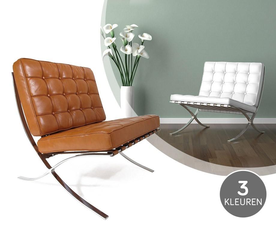 luxe en stijlvolle barcelona expo chair verkrijgbaar zwart wit en cognac dagelijkse. Black Bedroom Furniture Sets. Home Design Ideas
