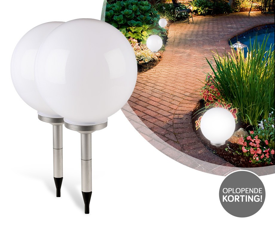 bolvormige solar led tuinlampen bestel 2 of meer lampen voor extra korting dagelijkse. Black Bedroom Furniture Sets. Home Design Ideas