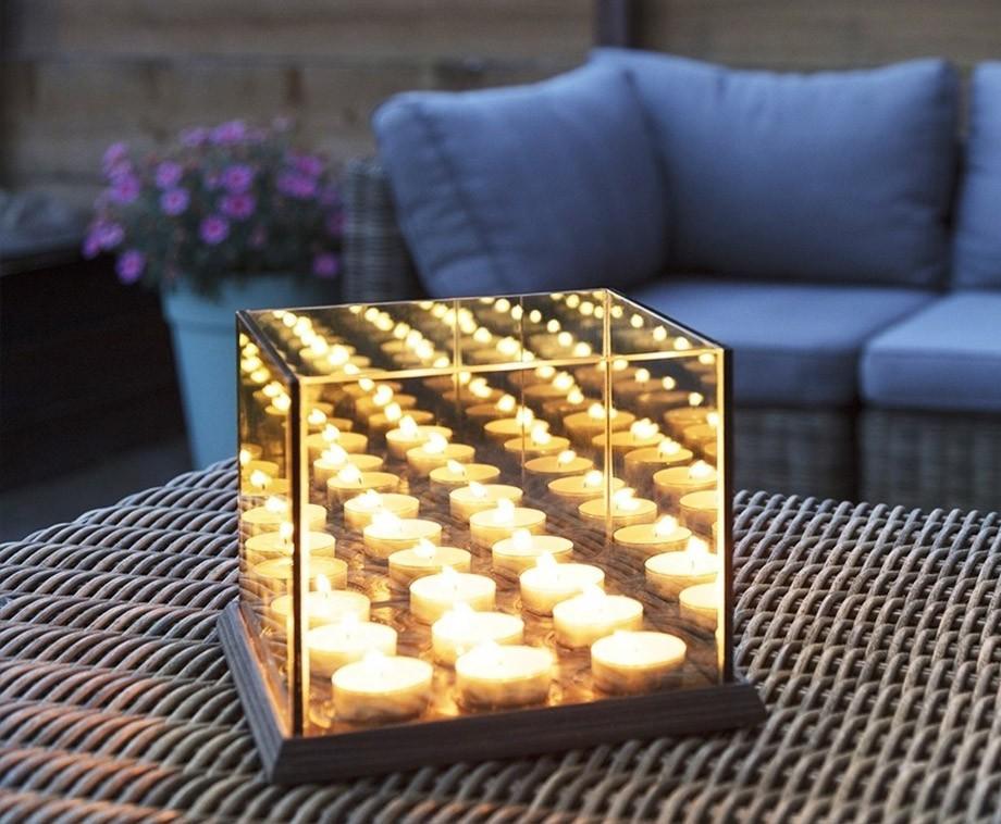 Candle Lights Mirror Glass - Bijzondere Waxinelichthouder Met Oneindig Effect!