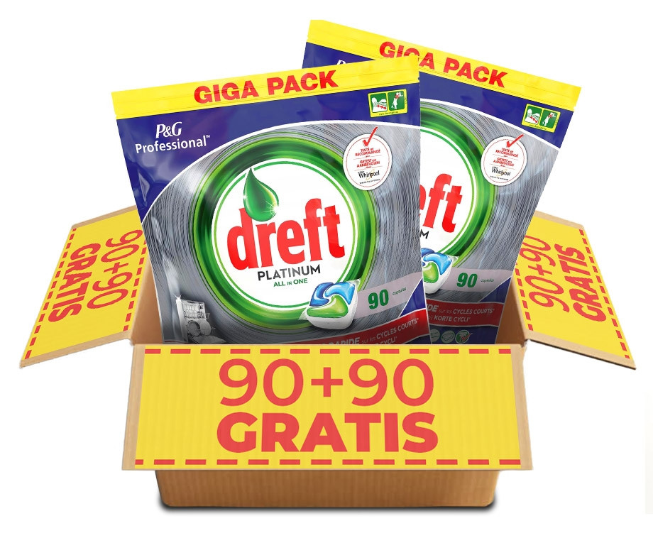 GIGA PACK Dreft Vaatwastabletten Regulier Of Citroen - 90+90 GRATIS!