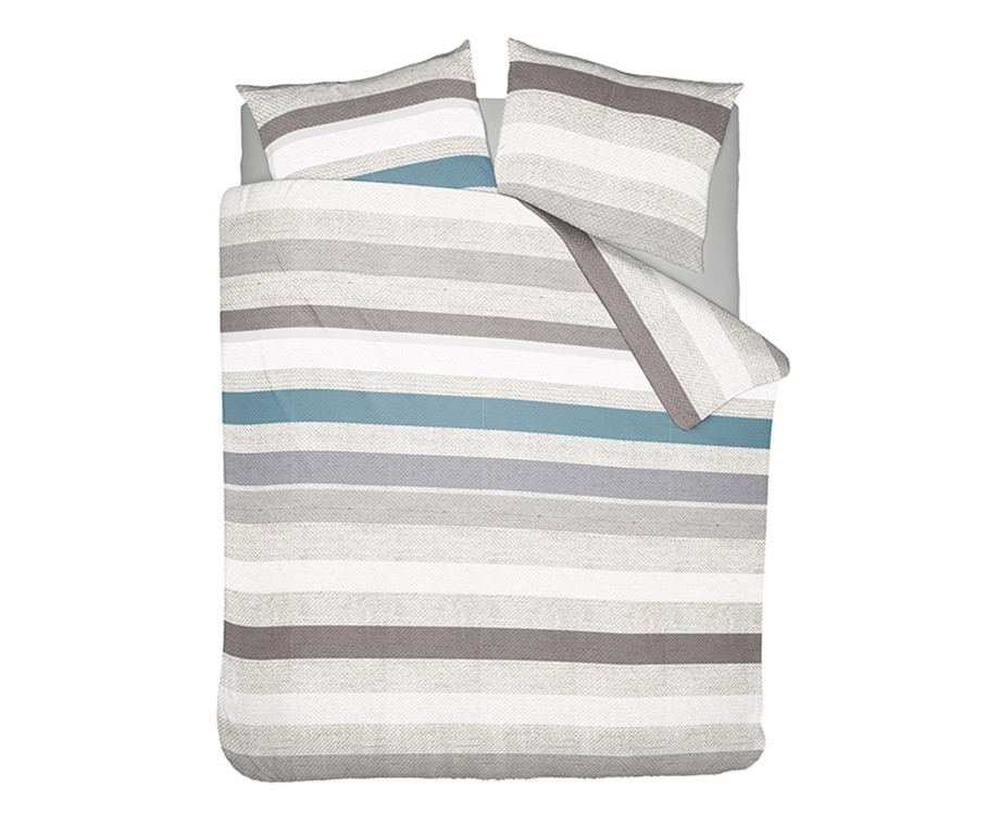 Wake up bedding dekbedovertrek pastel stripe petrol