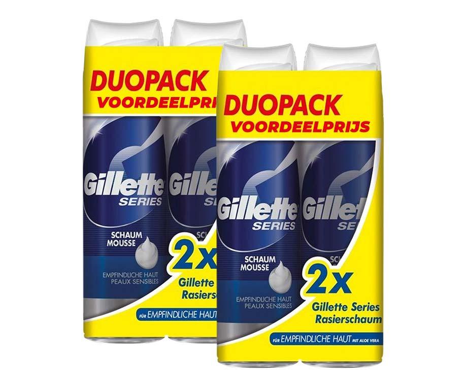 4-Pack Gillette Series Scheerschuim - Een Zachte Mousse Voor Ieder Huidtype!