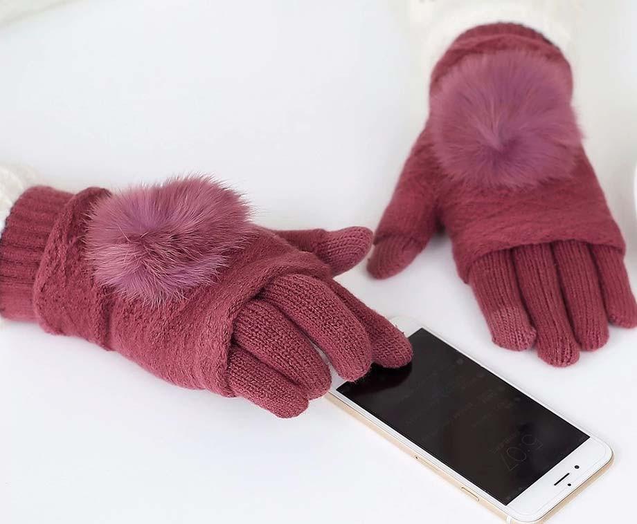 Fluffy Pom Dames Touchscreen Handschoenen - Verkrijgbaar In 4 Kleuren!