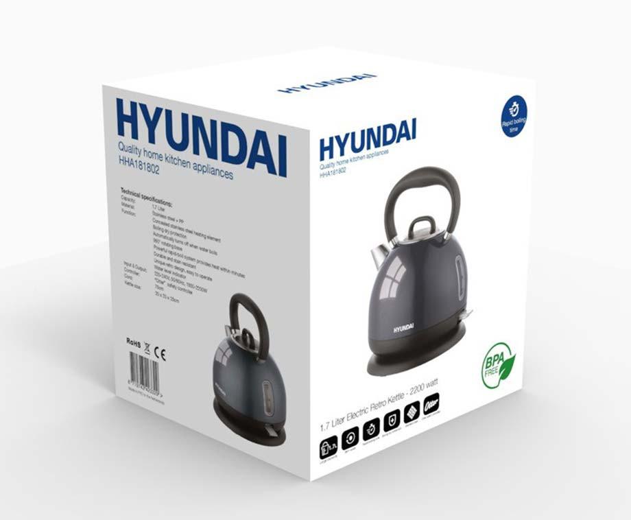 Hyundai Waterkoker 1,7 Liter - Met Retro Fluitketel Design!