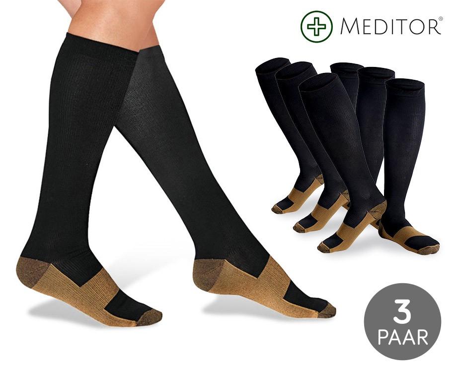3 Paar Kopergeweven Compressiesokken - Stop Zweetvoeten, Spataderen & Pijnklachten!