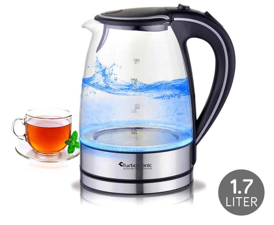 Glazen design waterkoker 1 7l met blauwe led verlichting for Waterkoker led verlichting