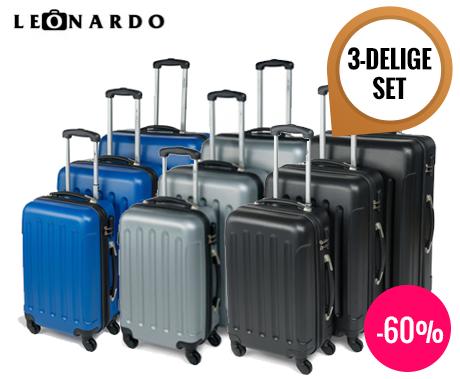 3 delige set trolley koffers van leonardo voor elke reis een geschikte koffer dagelijkse. Black Bedroom Furniture Sets. Home Design Ideas