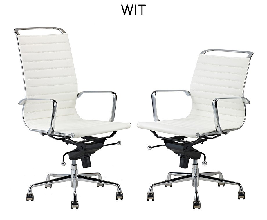 Luxe design bureaustoelen van rundleer met hoge of lage