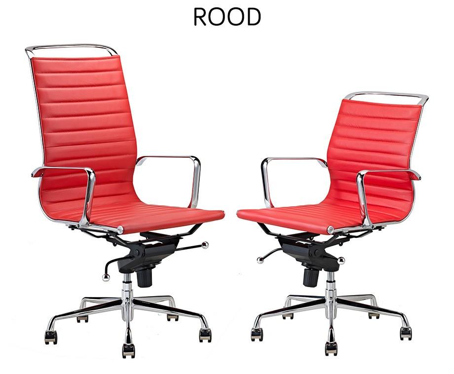Bureaustoel Rood Leer.Luxe Design Bureaustoelen Van 100 Rundleer Met Hoge Of Lage