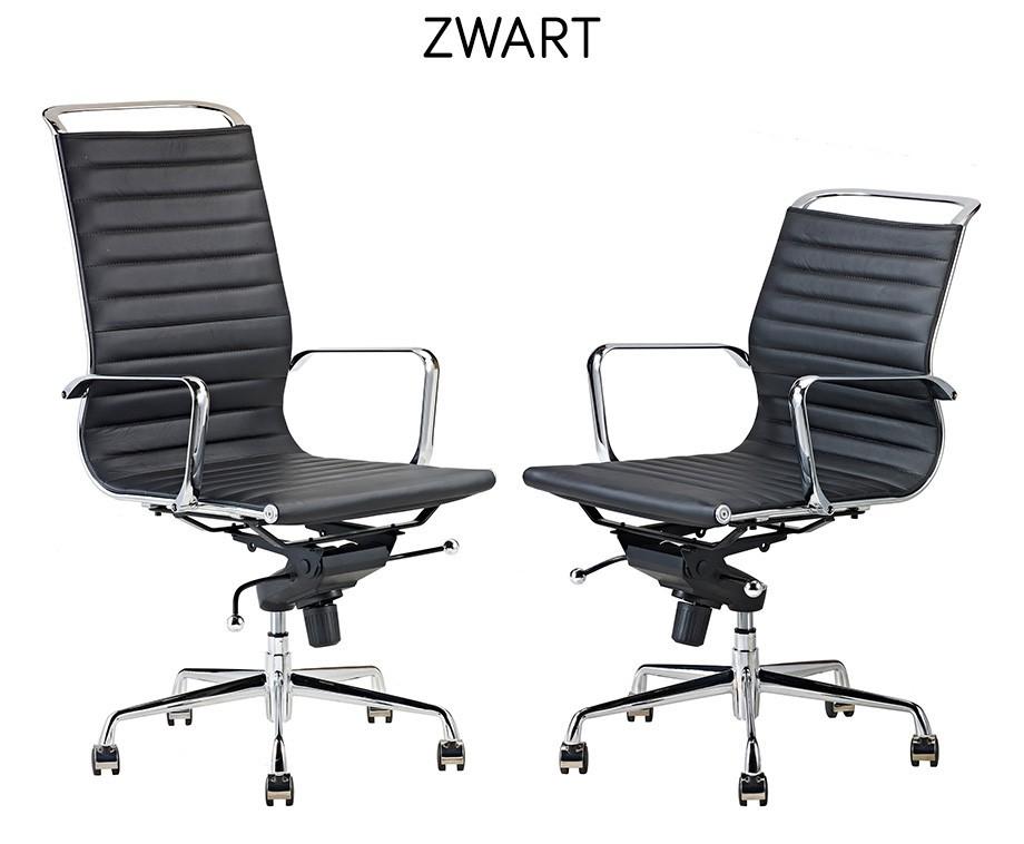 Bureaustoel Zwart Design.Luxe Design Bureaustoelen Van 100 Rundleer Met Hoge Of Lage
