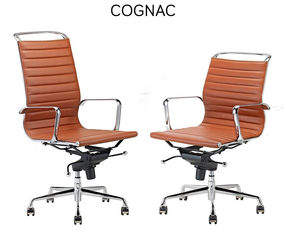 Cognac Leren Bureaustoel.Luxe Design Bureaustoelen Van 100 Rundleer Met Hoge Of Lage