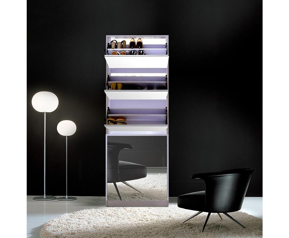 Praktische schoenenkast met grote spiegel voor 20 paar schoenen verkrijgbaar in wit of zwart - Grote spiegel kleefstof ...