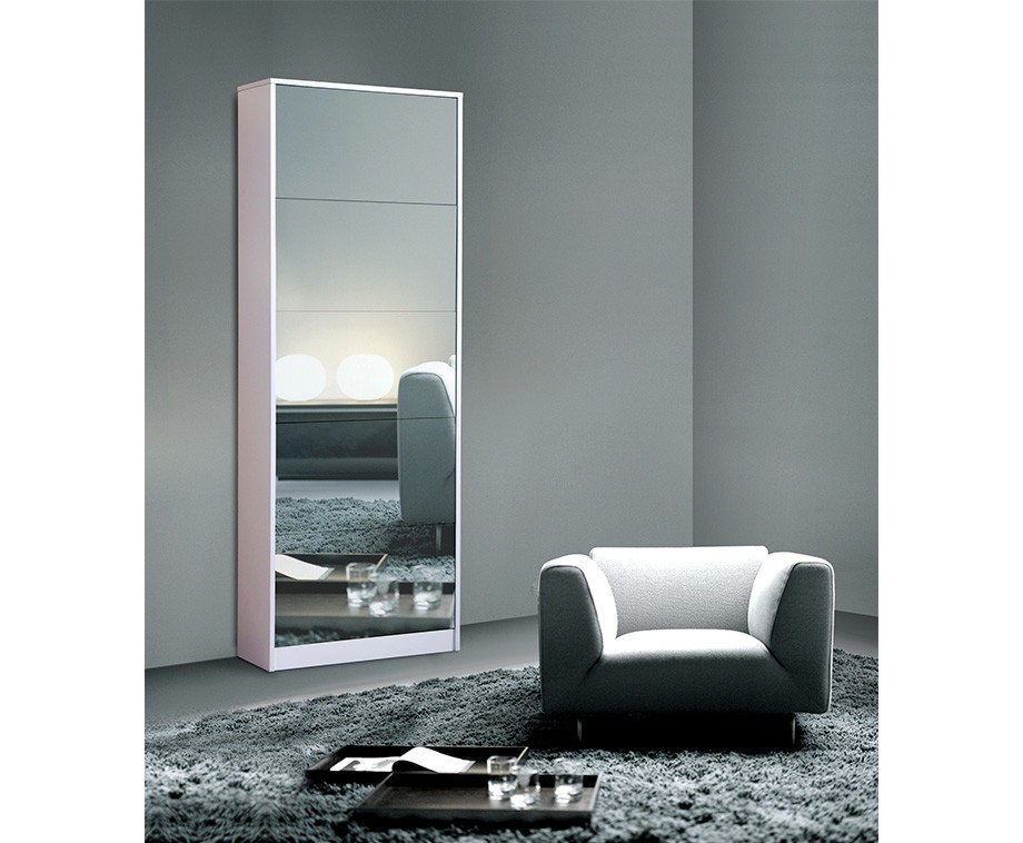 Grote schoenenkast met spiegel verkrijgbaar in 2 kleuren for Grote lange spiegel