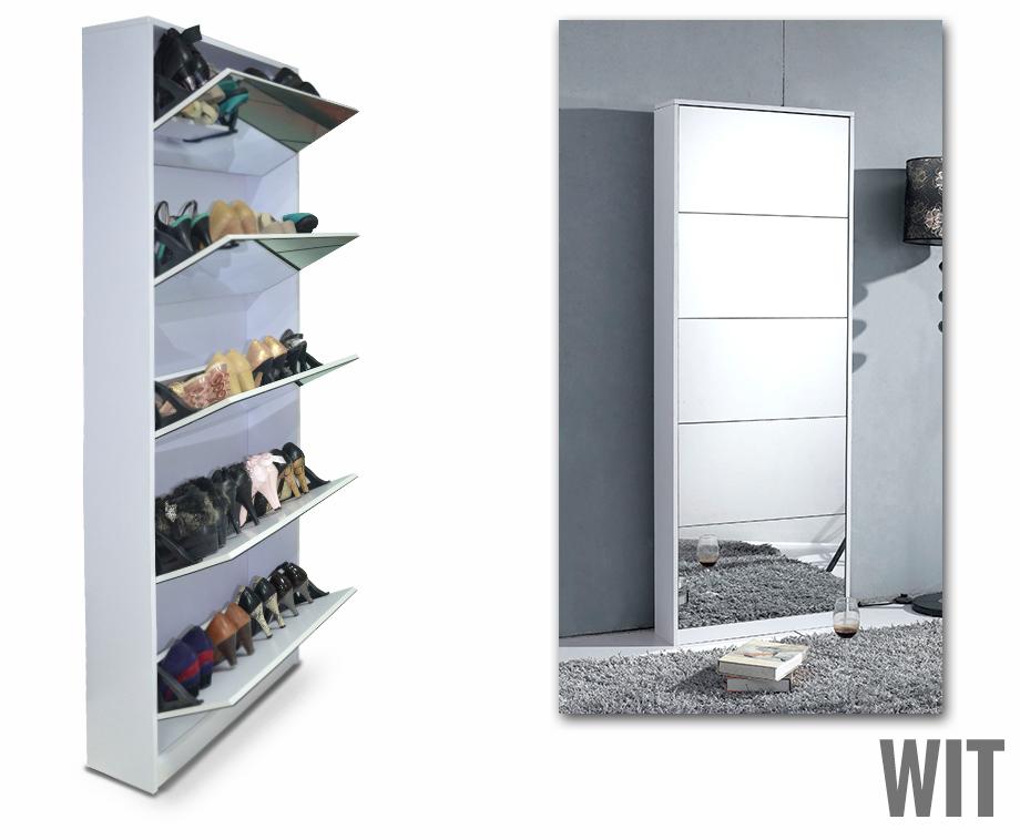 Praktische schoenenkast met grote spiegel voor 20 paar schoenen verkrijgbaar in wit of zwart - Zorgen voor een grote spiegel aan de wand ...
