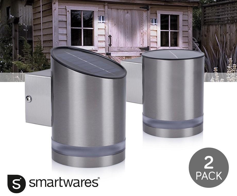 2 pack stijlvolle smartwares led wandlamp met solar dagelijkse topaanbiedingen. Black Bedroom Furniture Sets. Home Design Ideas