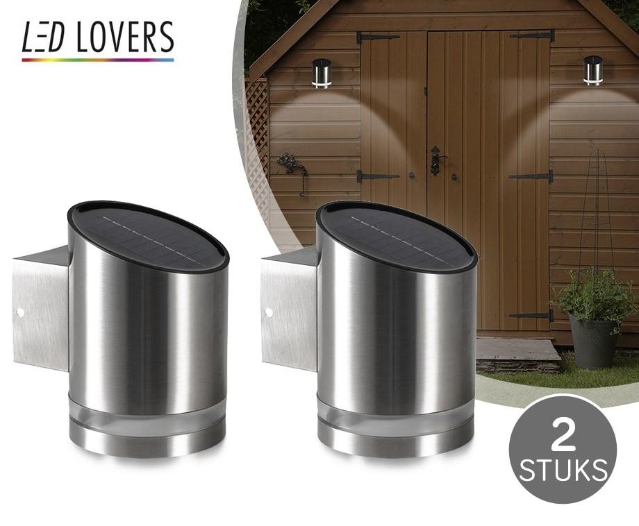 set van 2 solar led wandlampen gemaakt van luxe geborsteld rvs dagelijkse topaanbiedingen. Black Bedroom Furniture Sets. Home Design Ideas