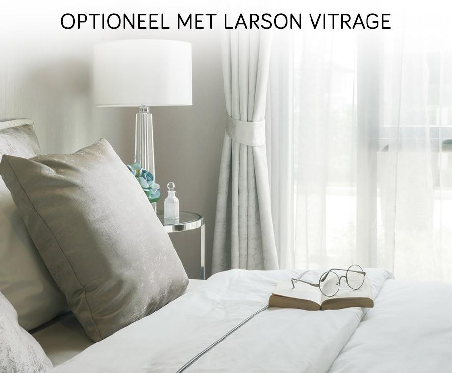 Larson verduisterende gordijnen met vitrage kant en for Verduisterende witte gordijnen