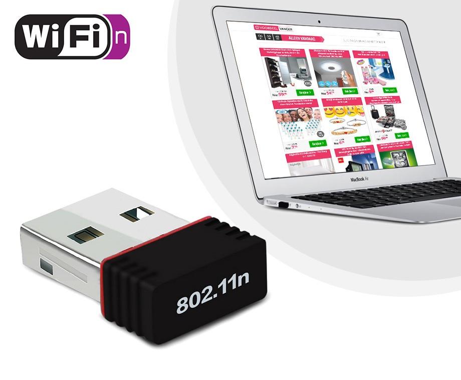 Mini WiFi Adapter - Versterk Het Wifi Ontvangst Van Laptops En Computers!