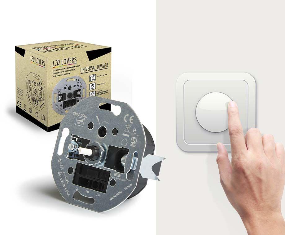 Universele Dimmer - Voor het dimmen van LED- en Halogeenlampen! ...