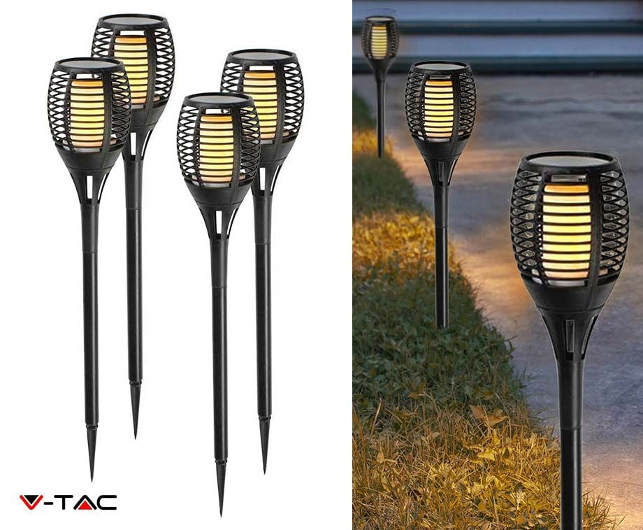 4-Pack Solar Light LED Flame - Met Sfeervol Vlam Effect! ...