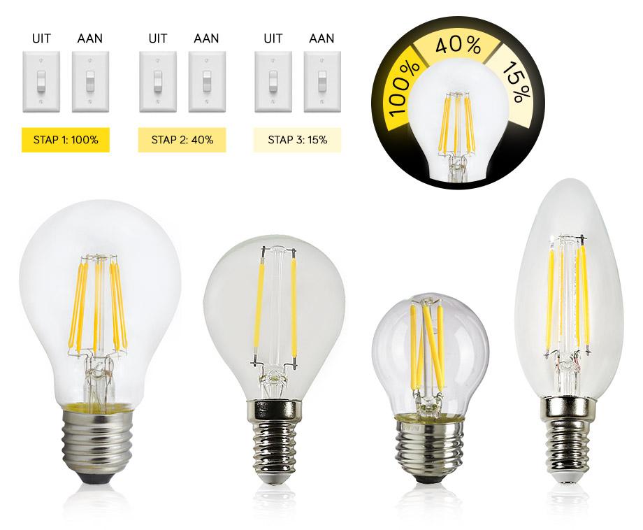 3-Staps Dimbare LED Lampen Zonder Dimmer - Werkt Met Huidige...