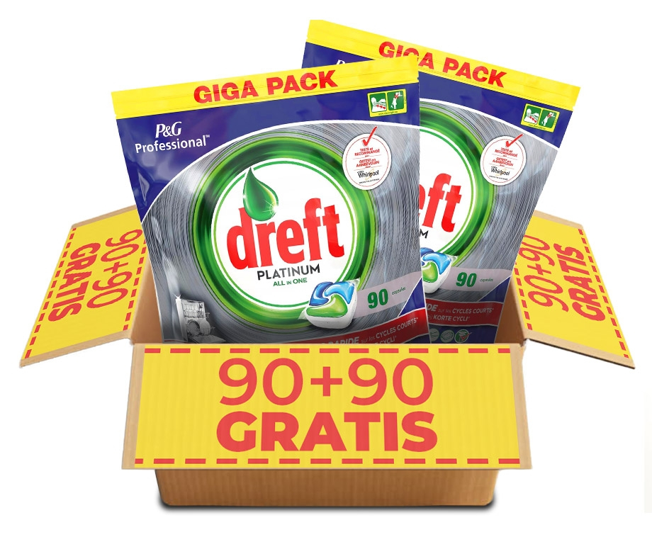 GIGA PACK Dreft Vaatwastabletten Regulier Of Citroen - 90+90 GRATIS!