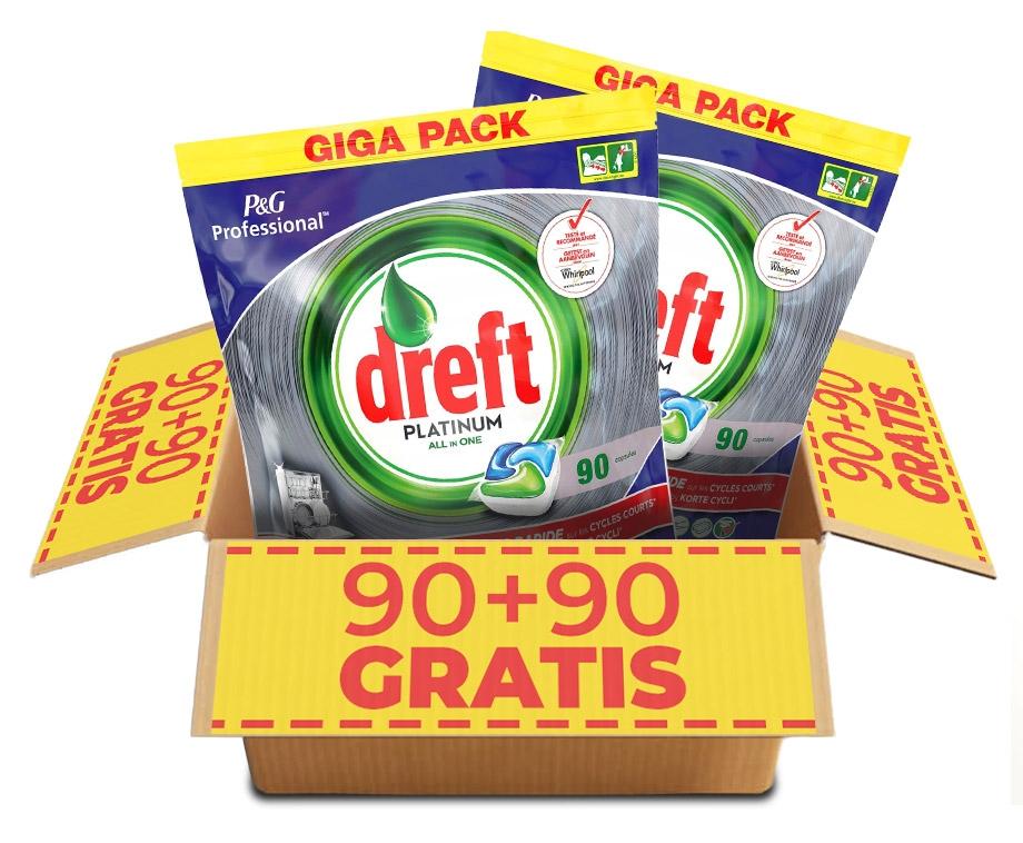 Dagaanbieding - GIGA PACK Dreft Vaatwastabletten Regulier Of Citroen - 90+90 GRATIS! dagelijkse koopjes